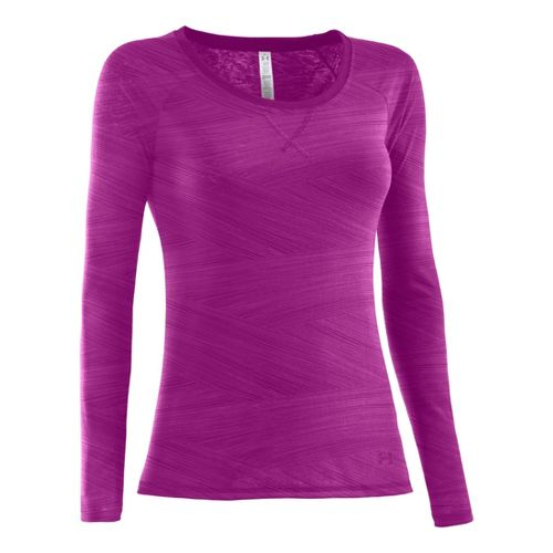 Womens Under Armour Ultimate Burnout Long Sleeve No Zip Technical Tops - Strobe XS