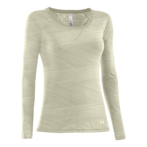 Womens Under Armour Ultimate Burnout Long Sleeve No Zip Technical Tops - Tusk M
