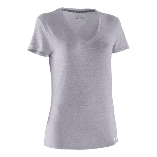 Womens Under Armour Charged Cotton Undeniable T Short Sleeve Technical Tops - Aluminum/Steel L