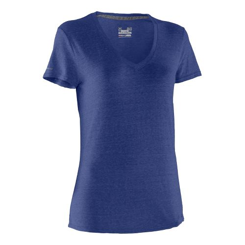 Womens Under Armour Charged Cotton Undeniable T Short Sleeve Technical Tops - Blu-Away/Blu-Away XS