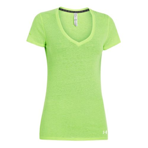 Womens Under Armour Charged Cotton Undeniable T Short Sleeve Technical Tops - Celery XS