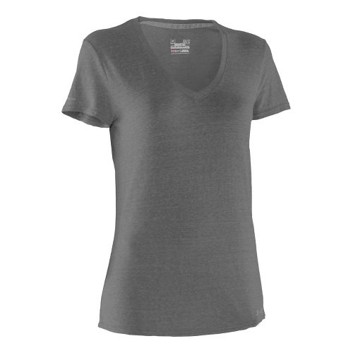 Womens Under Armour Charged Cotton Undeniable T Short Sleeve Technical Tops - Charcoal/Steel M