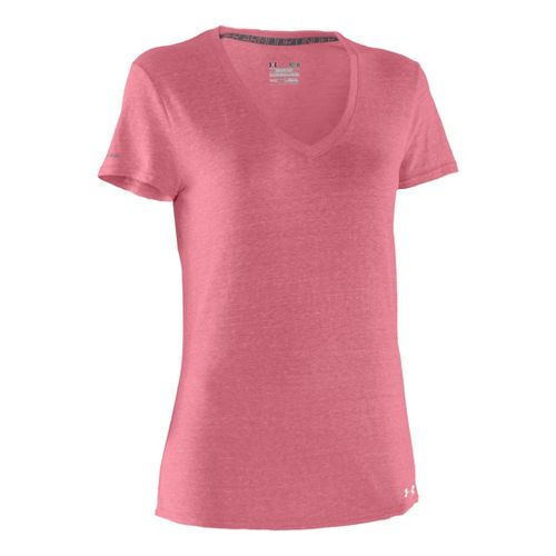 Womens Under Armour Charged Cotton Undeniable T Short Sleeve Technical Tops - Hibiscus/White M