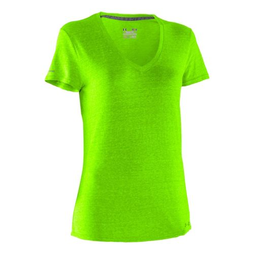 Womens Under Armour Charged Cotton Undeniable T Short Sleeve Technical Tops - Hyper Green/Hyper ...