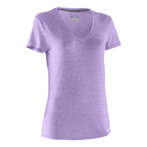 Womens Under Armour Charged Cotton Undeniable T Short Sleeve Technical Tops - Petunia/White L