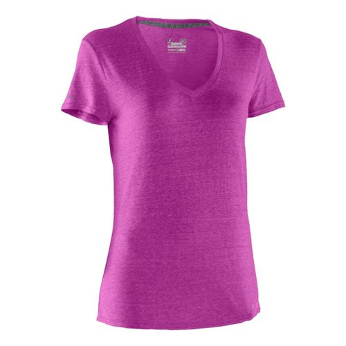 Womens Under Armour Charged Cotton Undeniable T Short Sleeve Technical Tops - Strobe/Strobe XL