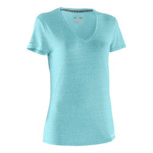 Womens Under Armour Charged Cotton Undeniable T Short Sleeve Technical Tops - Veneer/White S