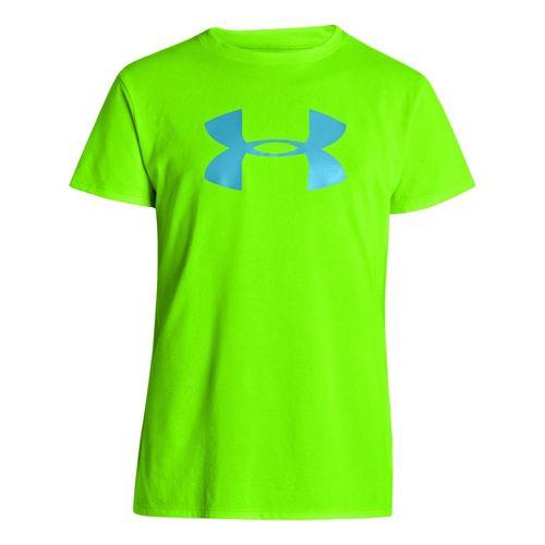 Kids Under Armour Girls Big Logo Tech Short Sleeve Technical Tops - Hyper Green/Cruise L ...