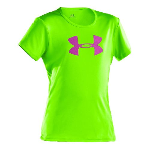 Kids Under Armour Girls Big Logo Tech Short Sleeve Technical Tops - Hyper Green/Strobe L ...