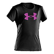 Kids Under Armour Girls Big Logo Tech Short Sleeve Technical Tops