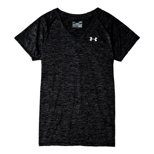 Womens Under Armour Twisted Tech T Short Sleeve Technical Tops - Black/Iridescent Blue M