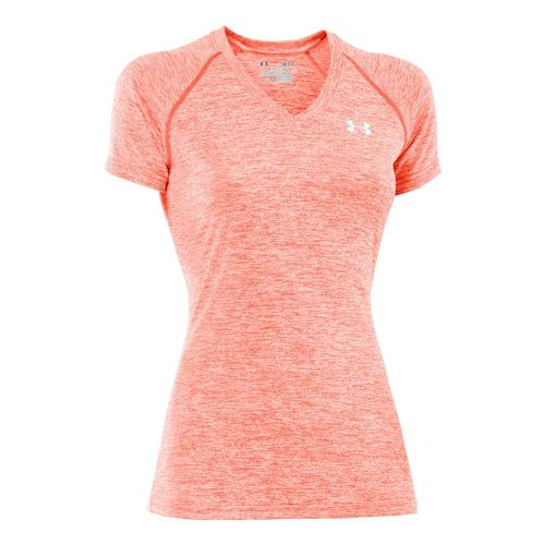 Womens Under Armour Twisted Tech T Short Sleeve Technical Tops - Electric Tangerine/Iridescent ...