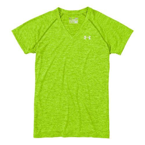 Womens Under Armour Twisted Tech T Short Sleeve Technical Tops - Hyper Green/Iridescent Blue L ...