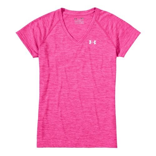 Womens Under Armour Twisted Tech T Short Sleeve Technical Tops - Pinkadelic/Iridescent Blue M
