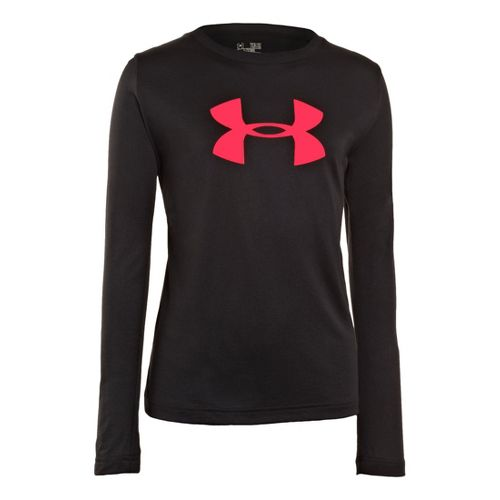 Kids Under Armour Girls Big Logo Tech Long Sleeve No Zip Technical Tops - Black/Neo ...