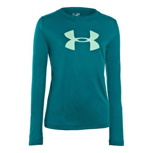 Kids Under Armour Girls Big Logo Tech Long Sleeve No Zip Technical Tops - Cerulean/Aqua ...