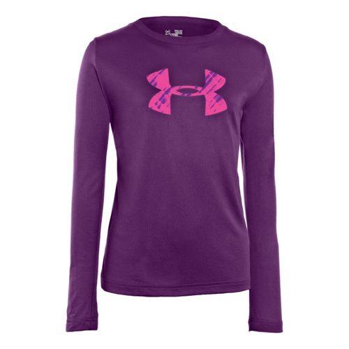 Kids Under Armour Girls Big Logo Tech Long Sleeve No Zip Technical Tops - Hendrix/Neo ...