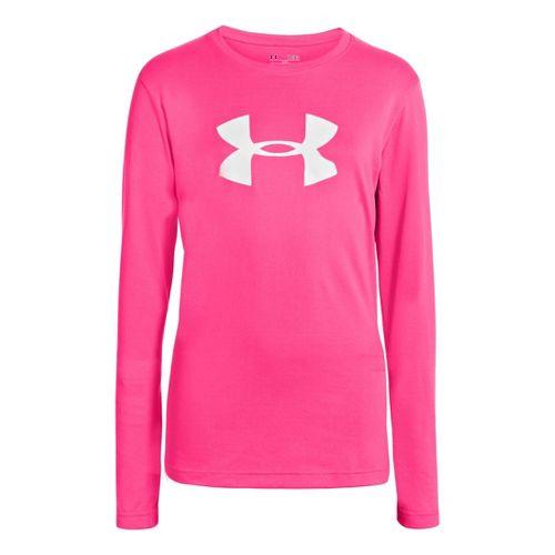 Kids Under Armour Girls Big Logo Tech Long Sleeve No Zip Technical Tops - Pinkadelic/White ...