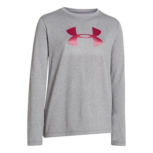 Kids Under Armour Girls Big Logo Tech Long Sleeve No Zip Technical Tops - True ...