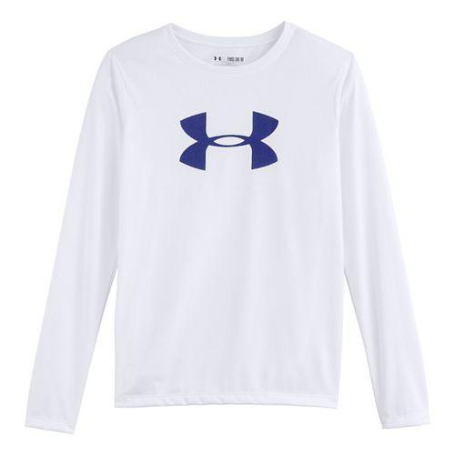 Kids Under Armour Girls Big Logo Tech Long Sleeve No Zip Technical Tops - White/Siberian ...