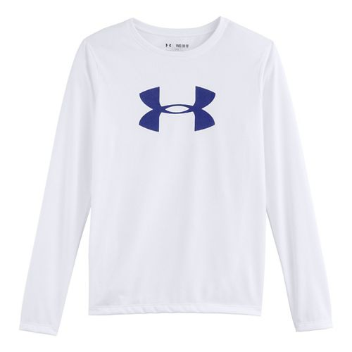 Kids Under Armour Girls Big Logo Tech Long Sleeve No Zip Technical Tops - White/Siberian ...