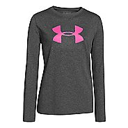 Kids Under Armour Girls Big Logo Tech Long Sleeve No Zip Technical Tops