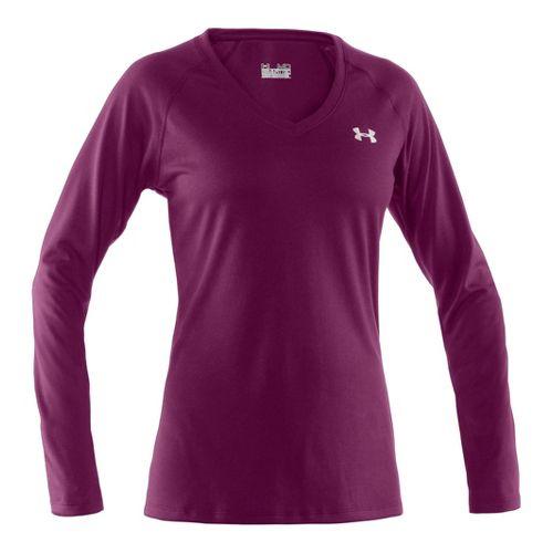 Womens Under Armour Tech Long Sleeve No Zip Technical Tops - Aubergine/Iridescent Blue XL