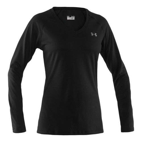 Womens Under Armour Tech Long Sleeve No Zip Technical Tops - Black/Silver XS