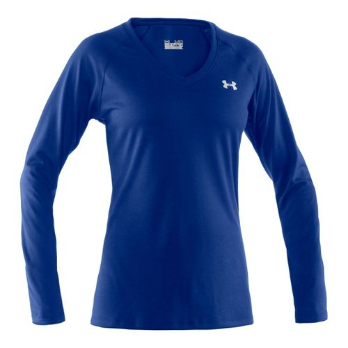 Womens Under Armour Tech Long Sleeve No Zip Technical Tops - Blu-Away/Iridescent Blue S
