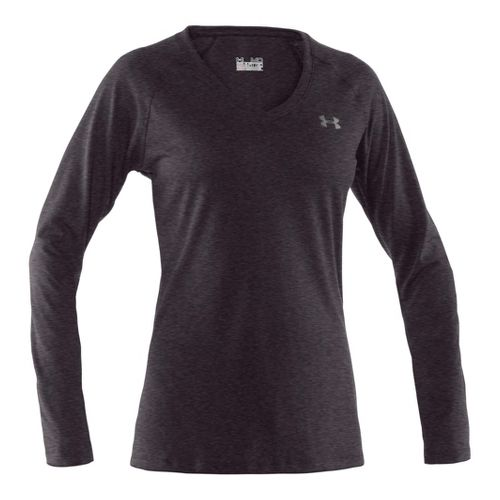 Womens Under Armour Tech Long Sleeve No Zip Technical Tops - Carbon Heather/Silver S