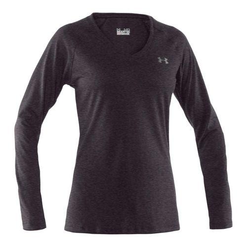 Womens Under Armour Tech Long Sleeve No Zip Technical Tops - Carbon Heather/Silver XL