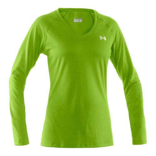 Womens Under Armour Tech Long Sleeve No Zip Technical Tops - Hyper Green/Iridescent Blue L ...