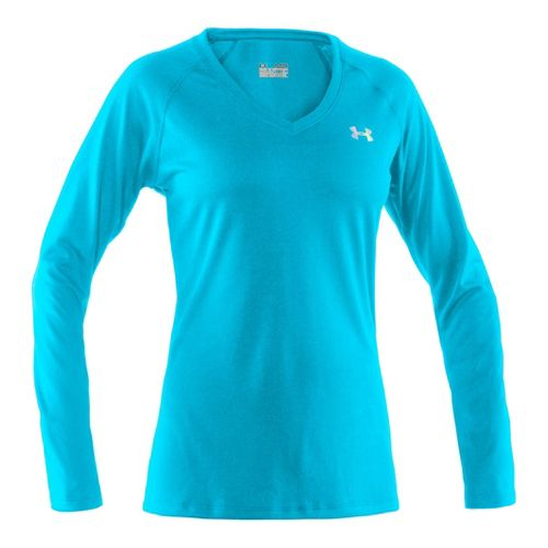 Womens Under Armour Tech Long Sleeve No Zip Technical Tops - Pirate Blue/Iridescent Blue XS ...