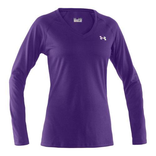 Womens Under Armour Tech Long Sleeve No Zip Technical Tops - Purple Rain/Iridescent Blue XL ...