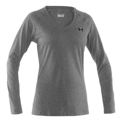 Womens Under Armour Tech Long Sleeve No Zip Technical Tops - True Grey/Black S