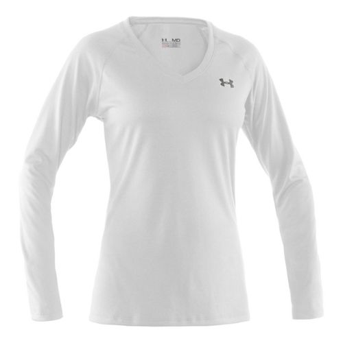 Womens Under Armour Tech Long Sleeve No Zip Technical Tops - White/Silver XS