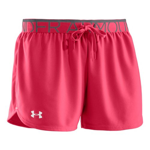 Womens Under Armour Play Up Splits Shorts - Hibiscus/Graphite S