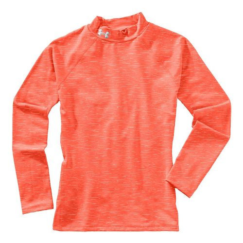 Kids Under Armour Girls Evo ColdGear Fitted Mock Long Sleeve No Zip Technical Tops - ...