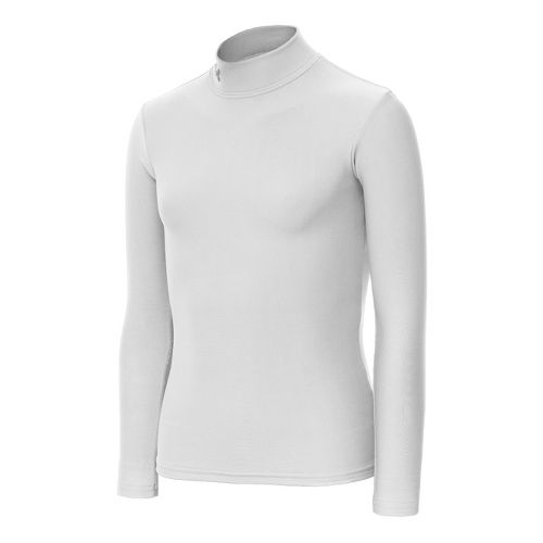 Kids Under Armour Girls Evo ColdGear Fitted Mock Long Sleeve No Zip Technical Tops - White/Metal XL