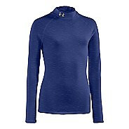 Kids Under Armour Girls Evo ColdGear Fitted Mock Long Sleeve No Zip Technical Tops
