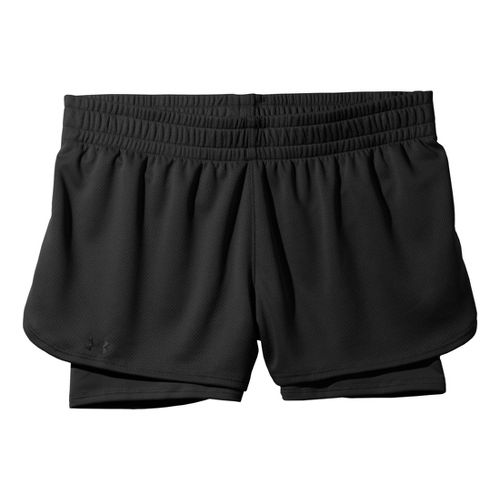 Womens Under Armour 2-in-1 Shorts - Black/Black M
