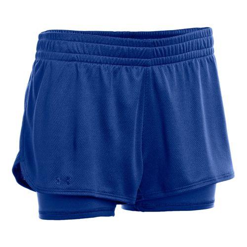 Womens Under Armour 2-in-1 Shorts - Blu-Away/Blu-Away XS