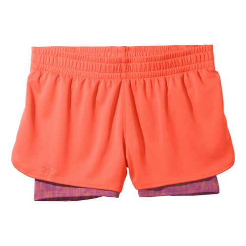 Womens Under Armour 2-in-1 Shorts - Electric Tangerine/Electric Tangerine XS
