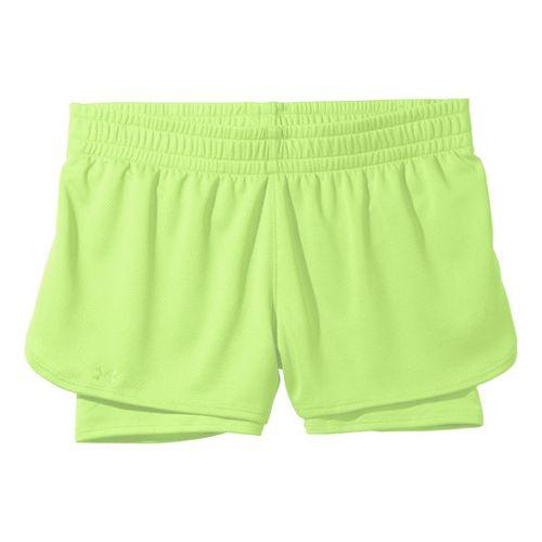 Womens Under Armour 2-in-1 Shorts - Hyper Green/Hyper Green M
