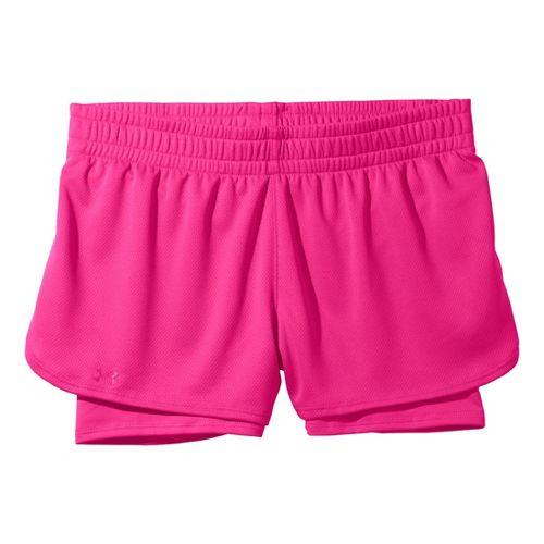 Womens Under Armour 2-in-1 Shorts - Pinkadelic/Pinkadelic XS
