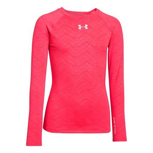 Kids Under Armour Girls Evo ColdGear Fitted Crew Long Sleeve No Zip Technical Tops - ...