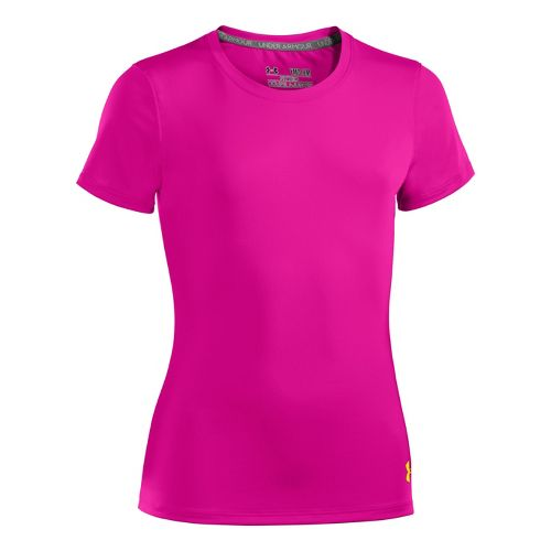 Kids Under Armour Girls HeatGear Sonic Short Sleeve Technical Tops - Tropic Pink/Sun Bleached S ...