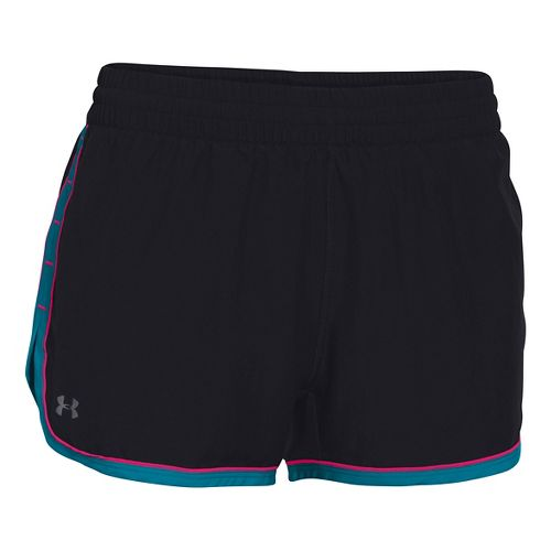 Womens Under Armour Great Escape II Lined Shorts - Black/Pacific XS