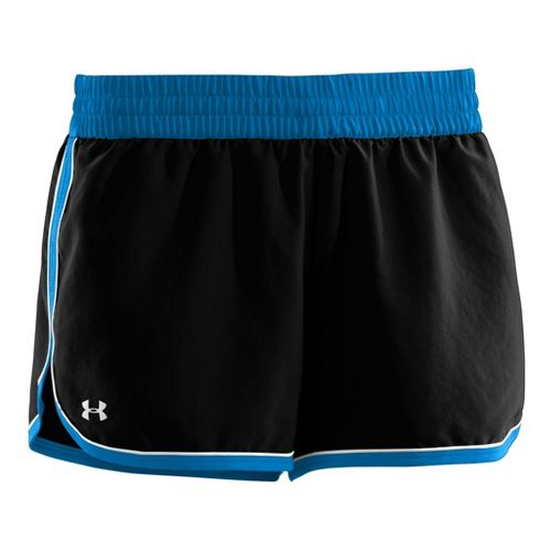 Womens Under Armour Great Escape II Lined Shorts - Black/Electric Blue XL