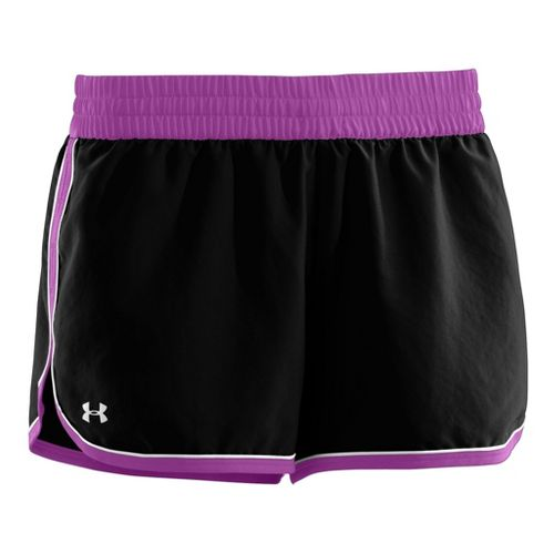 Womens Under Armour Great Escape II Lined Shorts - Black/Exotic Bloom L
